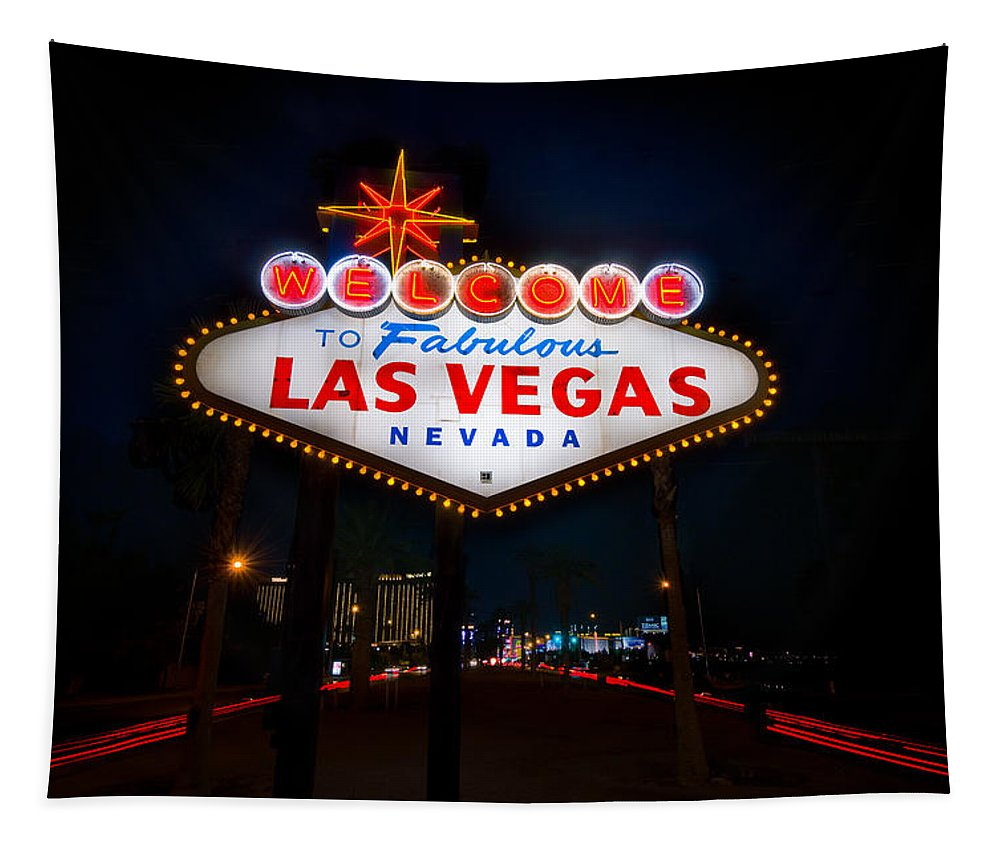 Casino Tapestry featuring the photograph Welcome To Las Vegas by Steve Gadomski