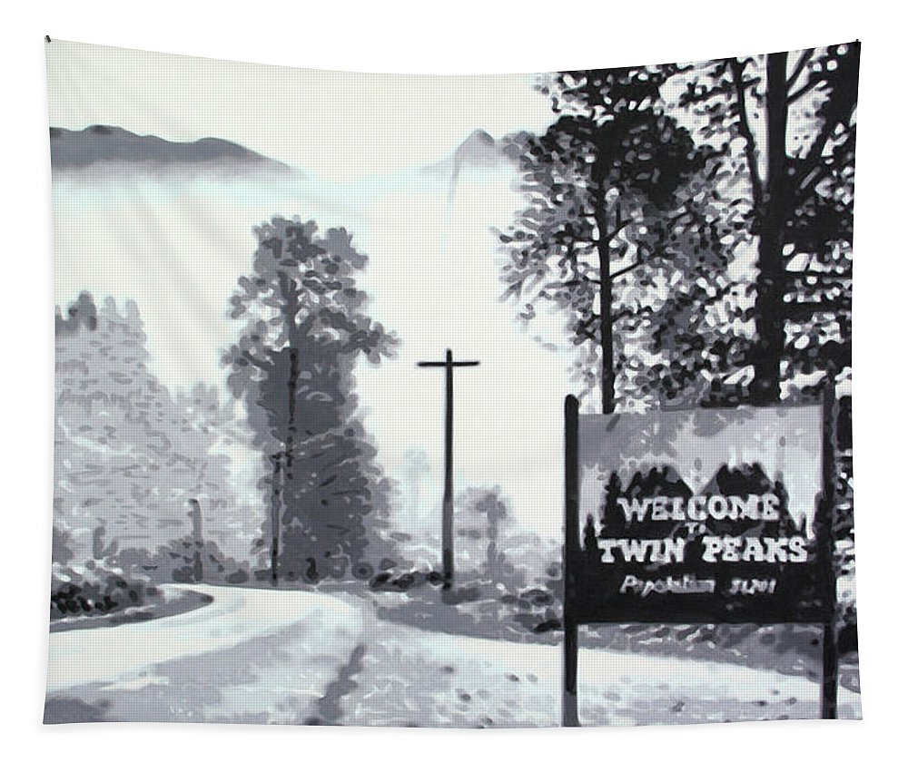 Laura Palmer Tapestry featuring the painting Welcome To Twin Peaks by Hood alias Ludzska