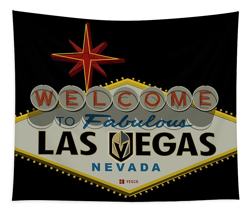 Goldenknights Tapestry featuring the photograph Welcome To Vegas Knights Sign Digital Drawing by Ricky Barnard