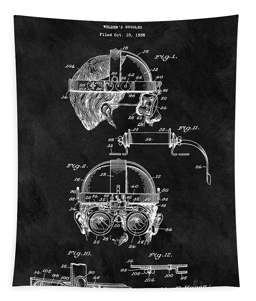 1940 Welder Goggles Patent Tapestry featuring the drawing Welding Goggles Patent by Dan Sproul