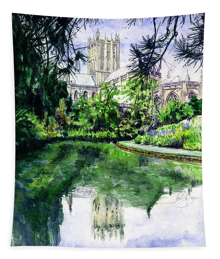 Wells Tapestry featuring the painting Wells Cathedral by John D Benson