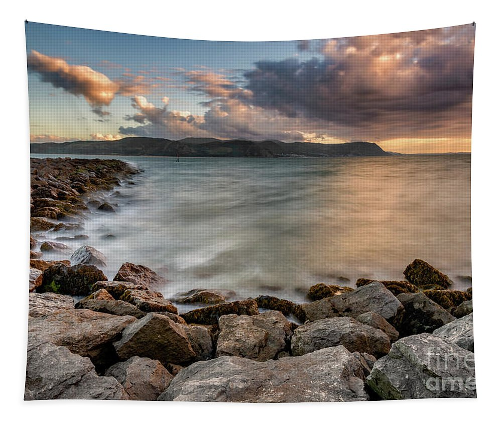 Sunset Tapestry featuring the photograph West Shore Sunset by Adrian Evans