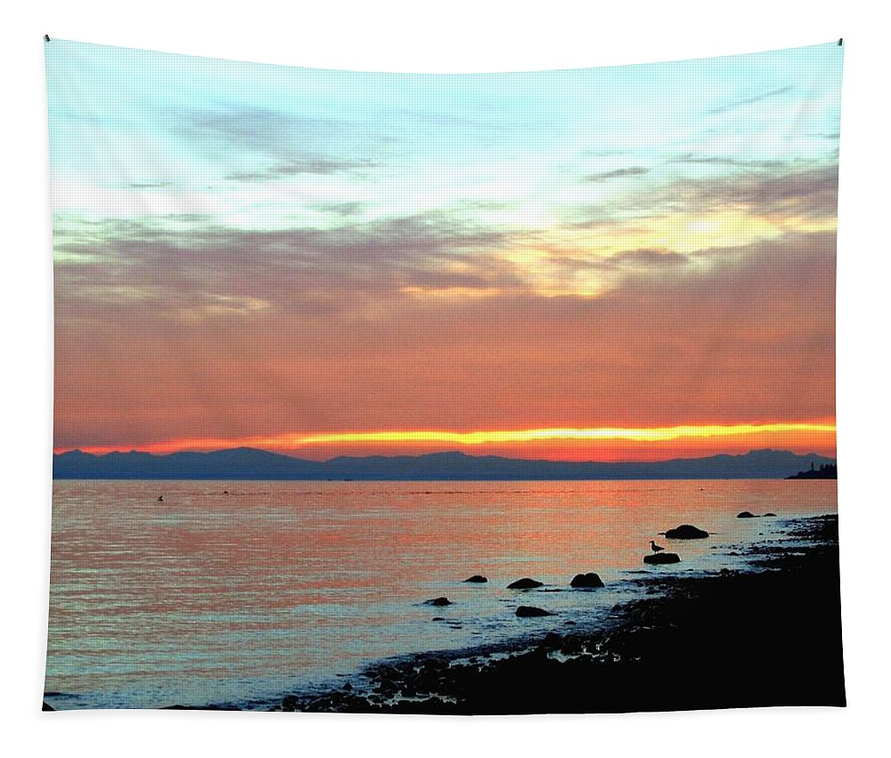 Sunset Tapestry featuring the photograph West Vancouver Sunset by Will Borden