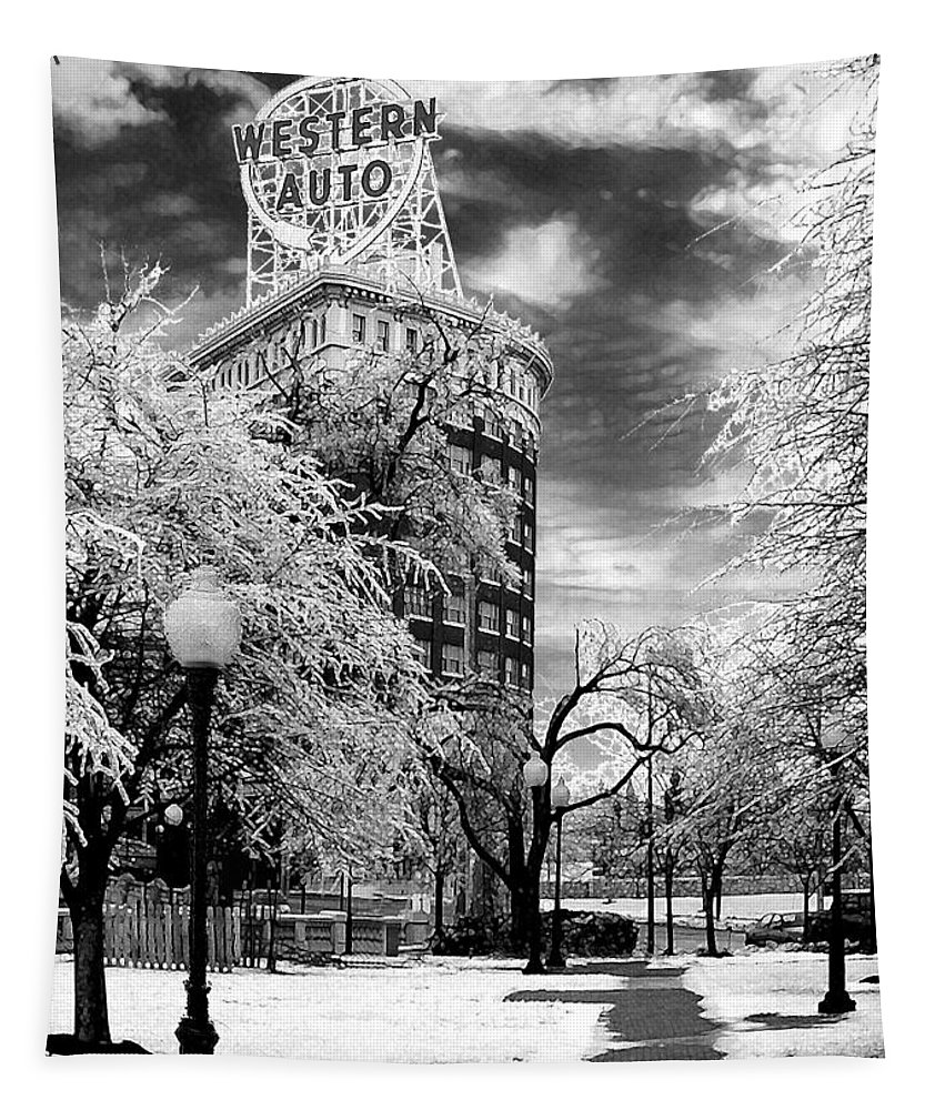 Western Auto Kansas City Tapestry featuring the photograph Western Auto In Winter by Steve Karol