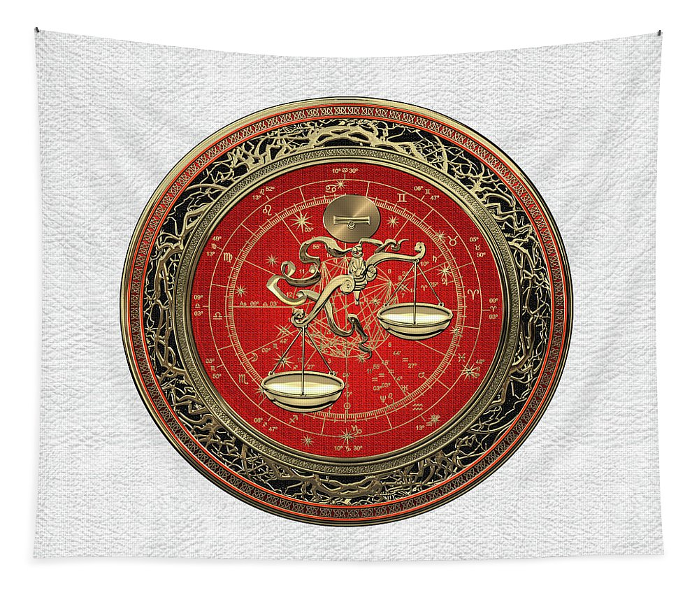 'zodiac' Collection By Serge Averbukh Tapestry featuring the digital art Western Zodiac - Golden Libra -the Scales On White Leather by Serge Averbukh