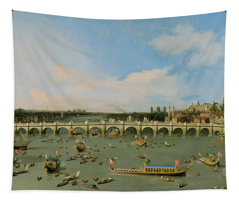 Xyc118509 Tapestry featuring the photograph Westminster Bridge - London by Giovanni Antonio Canaletto
