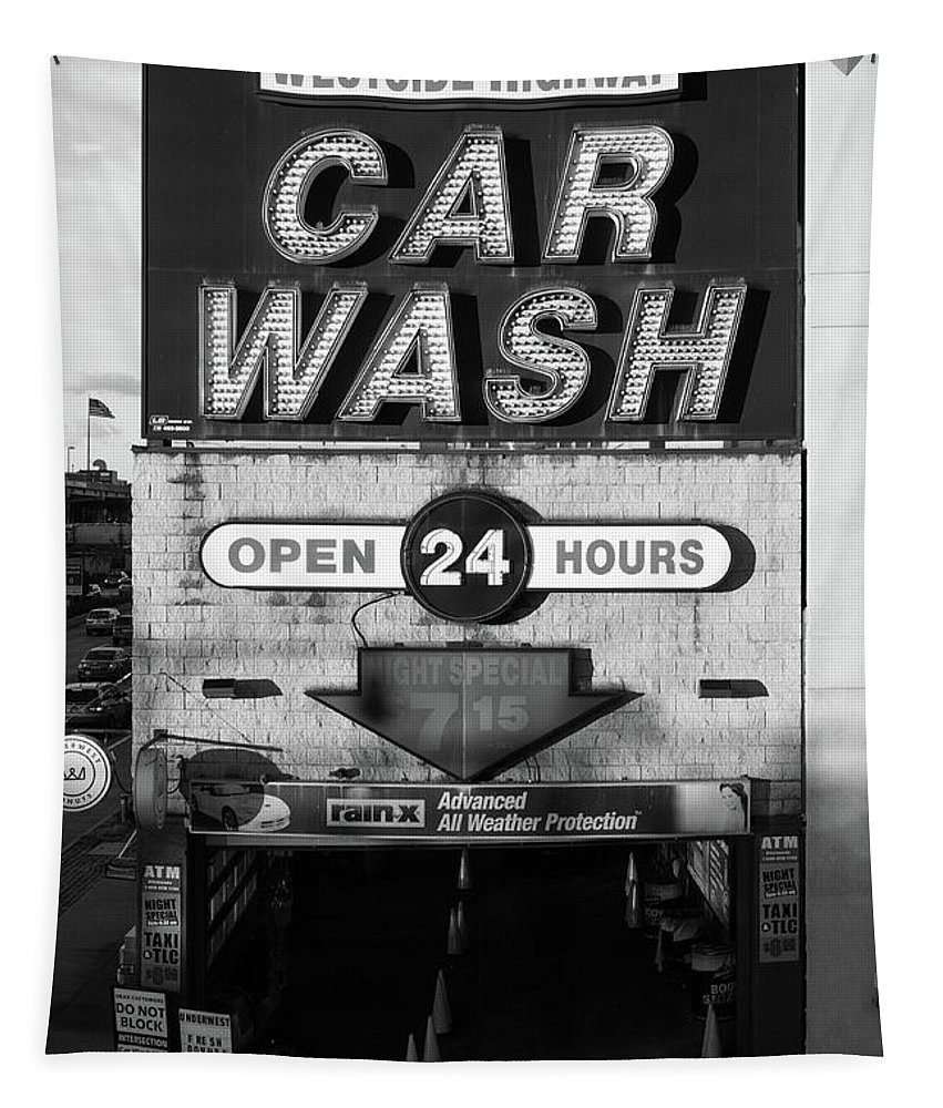 Car Tapestry featuring the photograph Westside Highway Car Wash Nyc by Edward Fielding