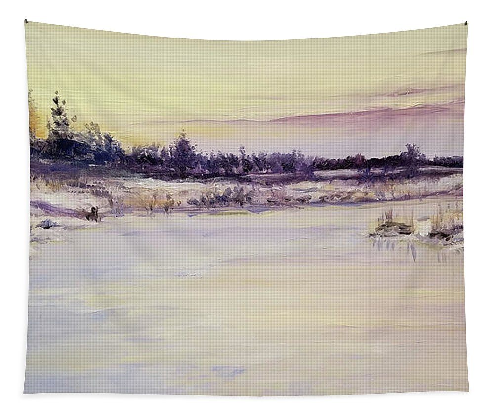 Oil Tapestry featuring the painting Wetland Winter by Susan Hanna
