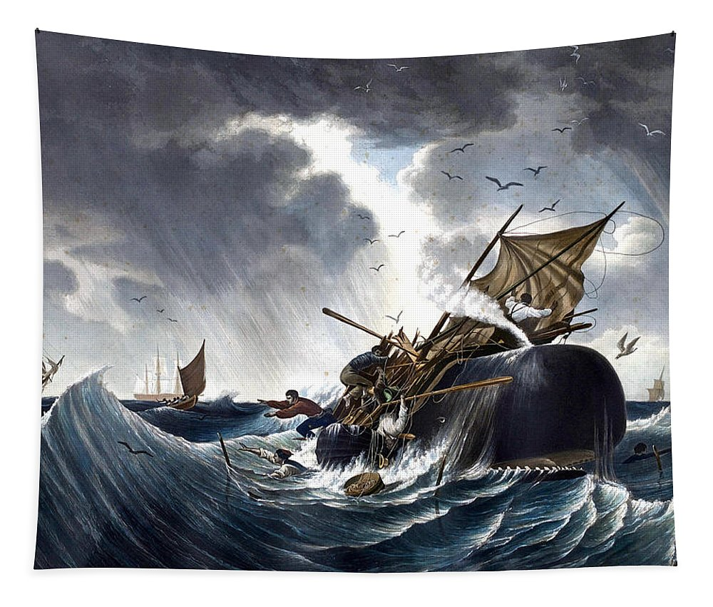 Whale Tapestry featuring the painting Whale Destroying Whaling Ship by American School