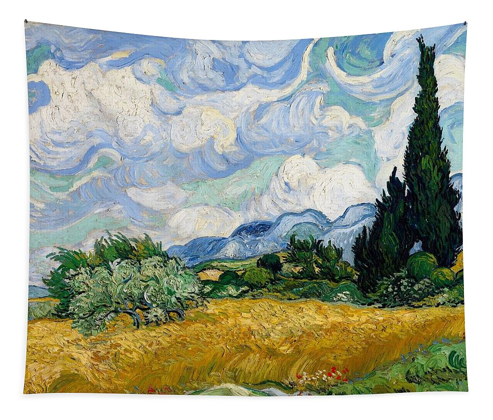 Vincent Van Gogh Tapestry featuring the painting Wheatfield With Cypresses by Van Gogh