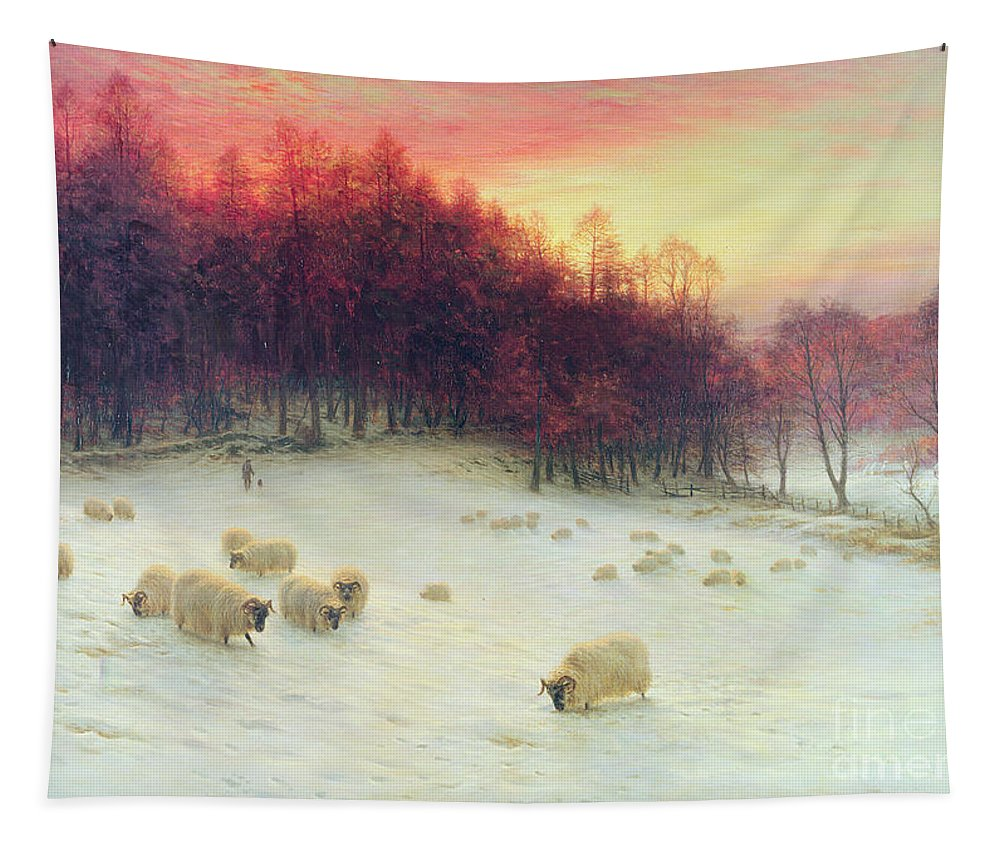 Forest Tapestry featuring the painting When The West With Evening Glows by Joseph Farquharson