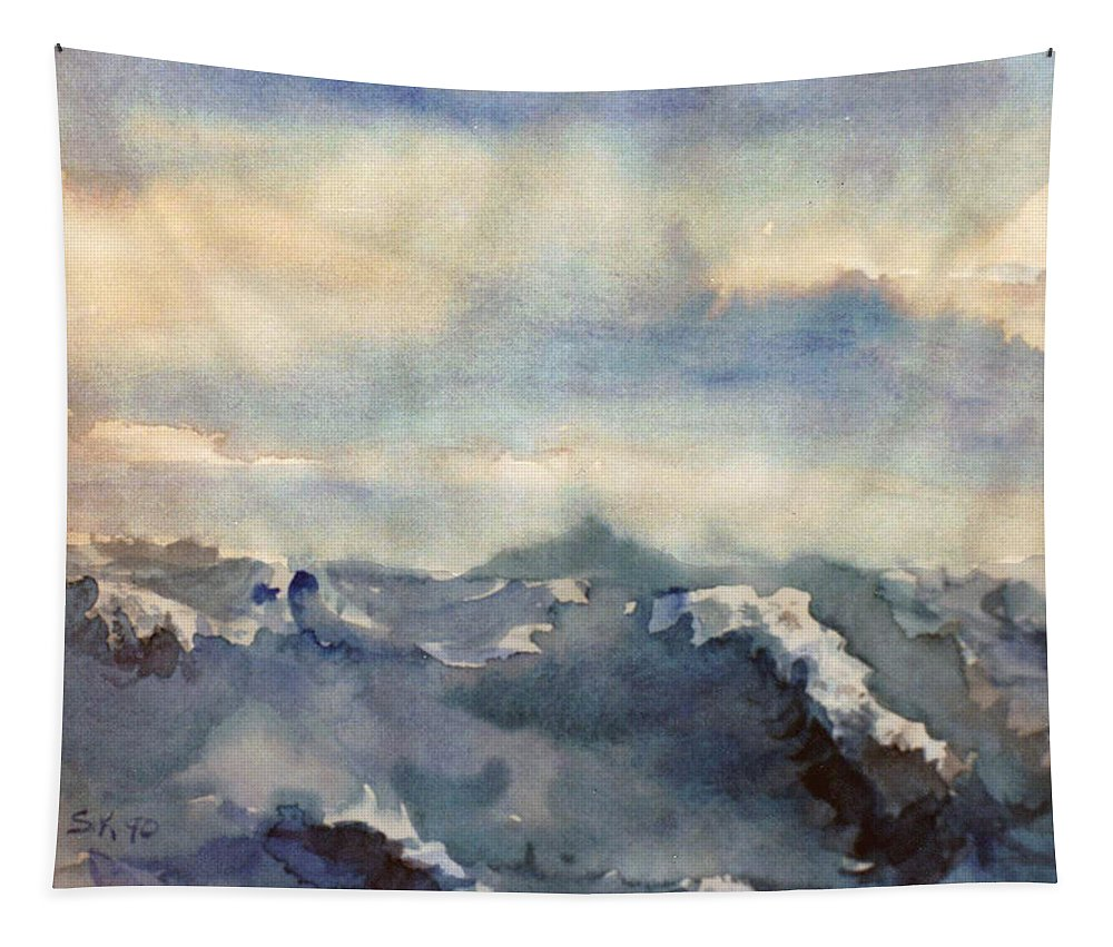 Seascape Tapestry featuring the painting Where Sky Meets Ocean by Steve Karol