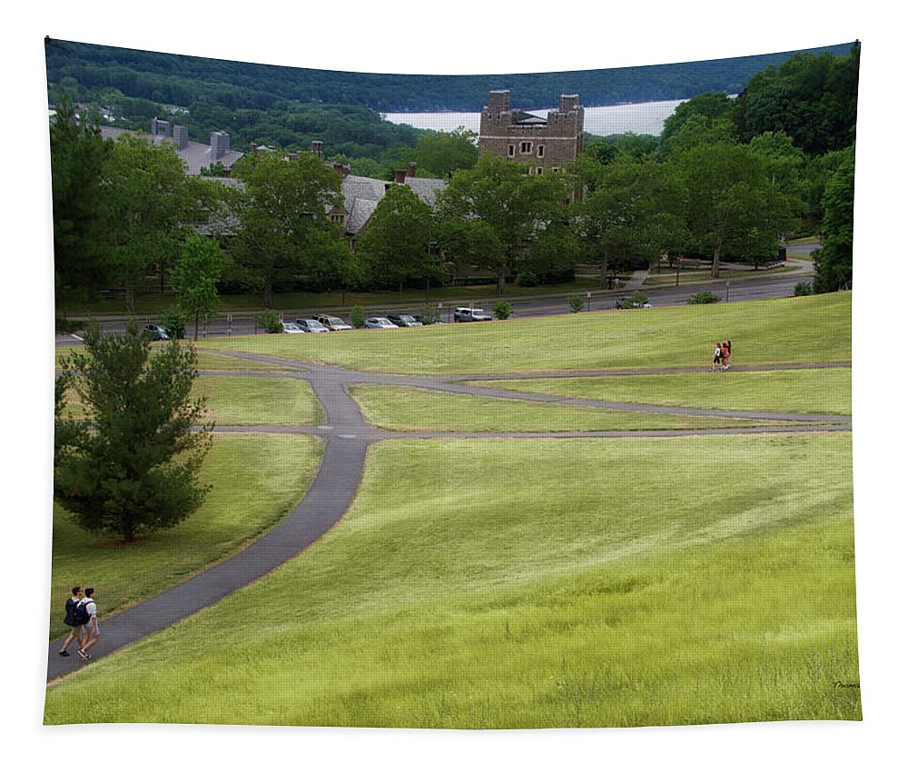 Cornell University Tapestry featuring the photograph Where The Paths Cross Cornell University Ithaca New York by Thomas Woolworth