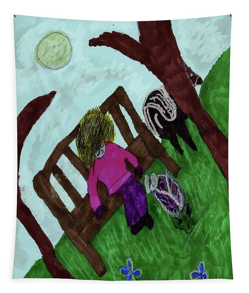 Little Girl Horse Trees A Butterfly Flowers Tapestry featuring the mixed media While Riding My Pony I Noticed A Butterfly by Elinor Helen Rakowski