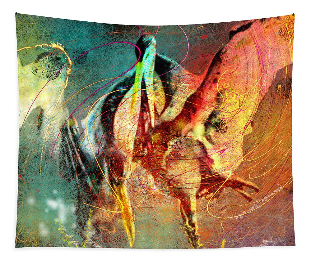 Miki Tapestry featuring the painting Whirled In Digital Rainbow by Miki De Goodaboom