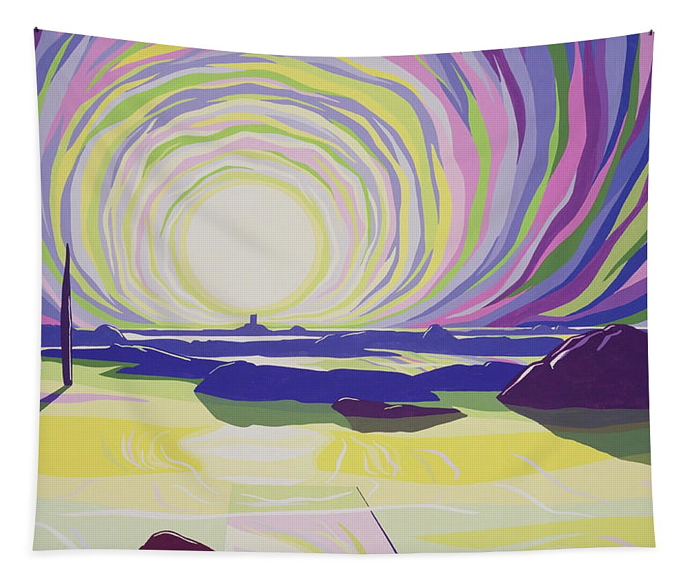 Sun; Dawn; Sea; Rocks; Beach; Seascape; Psychedelic; Mountains; Atmospheric; Colorful;; Sunrise; Mountain; Atmosphere; Rock; Whirl; Whirling Tapestry featuring the painting Whirling Sunrise - La Rocque by Derek Crow
