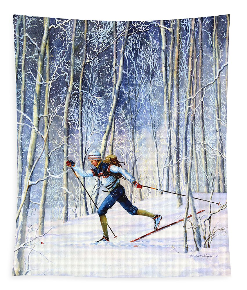 Sports Artist Tapestry featuring the painting Whispering Tracks by Hanne Lore Koehler