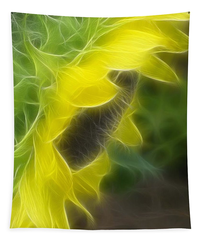 Sunflower Tapestry featuring the mixed media Whispy Petals by Deborah Benoit