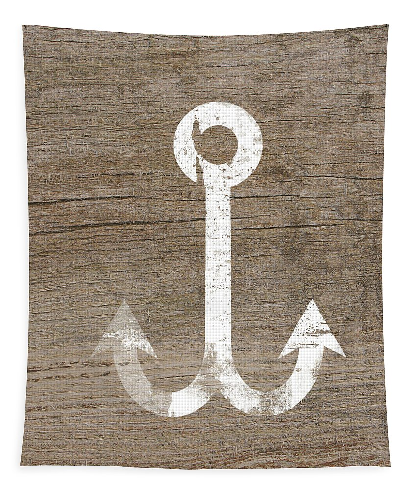 Wood Tapestry featuring the mixed media White And Wood Anchor- Art By Linda Woods by Linda Woods