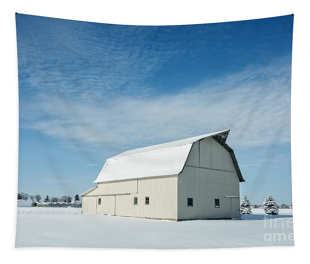 Barn Tapestry featuring the photograph White Barn With Snow by Michael Shake