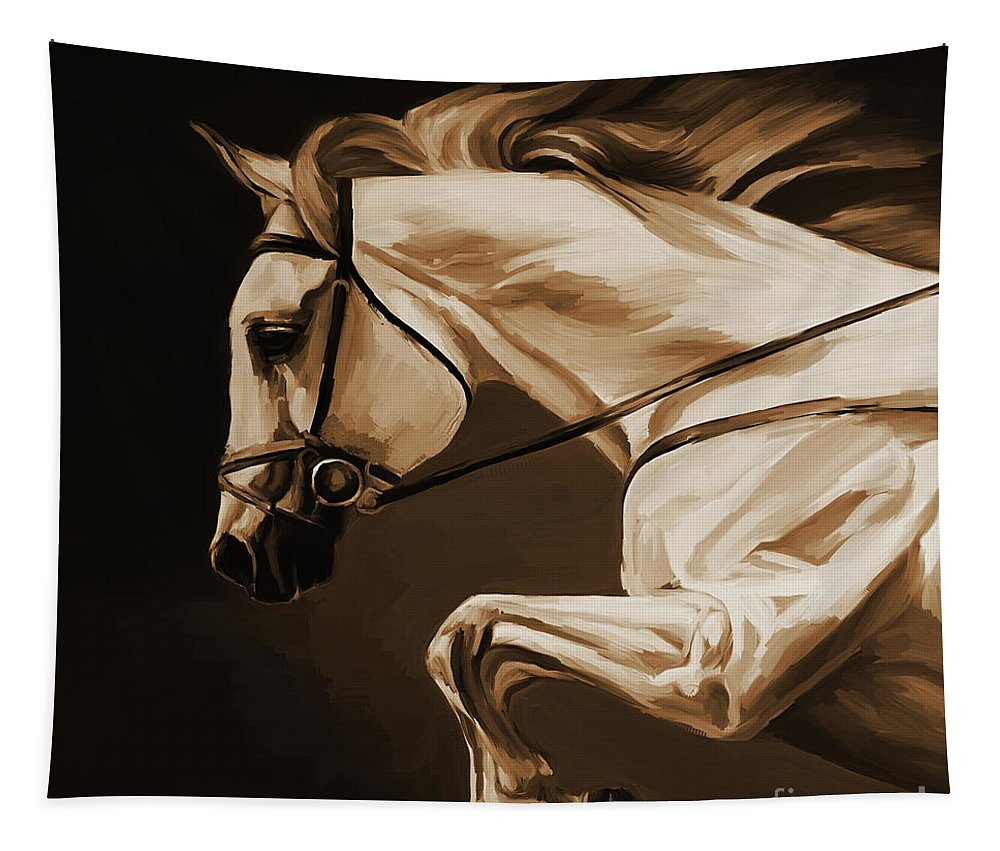 Horse Tapestry featuring the painting White Beautiful Horse by Gull G