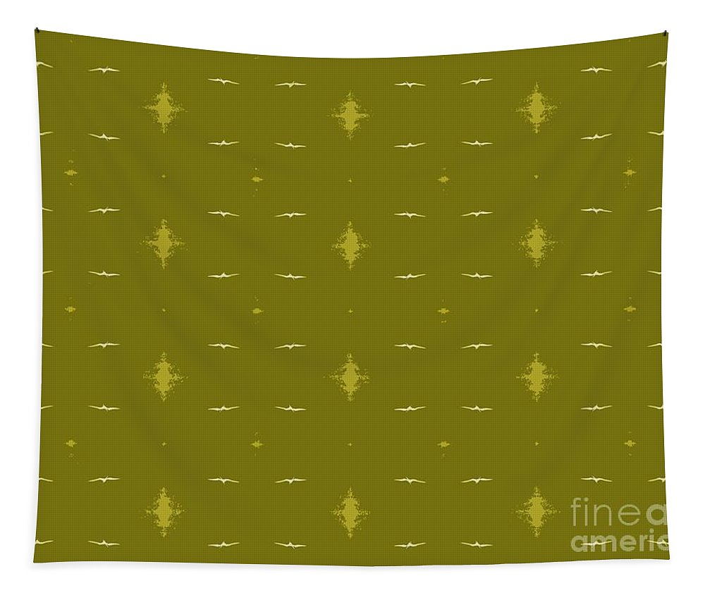 Birds Tapestry featuring the photograph White Birds Chartreuse Sky by Barbie Corbett-Newmin