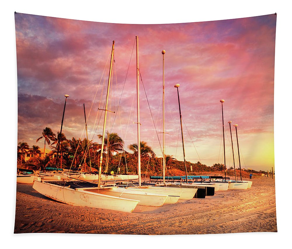 Boats Tapestry featuring the photograph White Catamarans by Debra and Dave Vanderlaan
