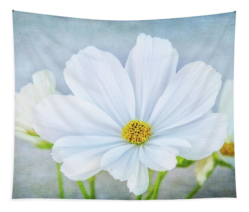 Photography Tapestry featuring the digital art White Cosmos by Terry Davis