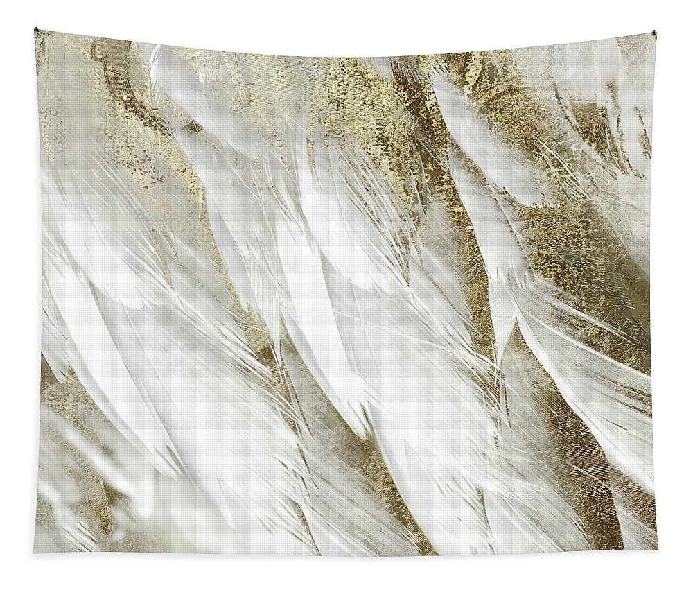 Feathers Tapestry featuring the painting White Feathers With Gold by Mindy Sommers