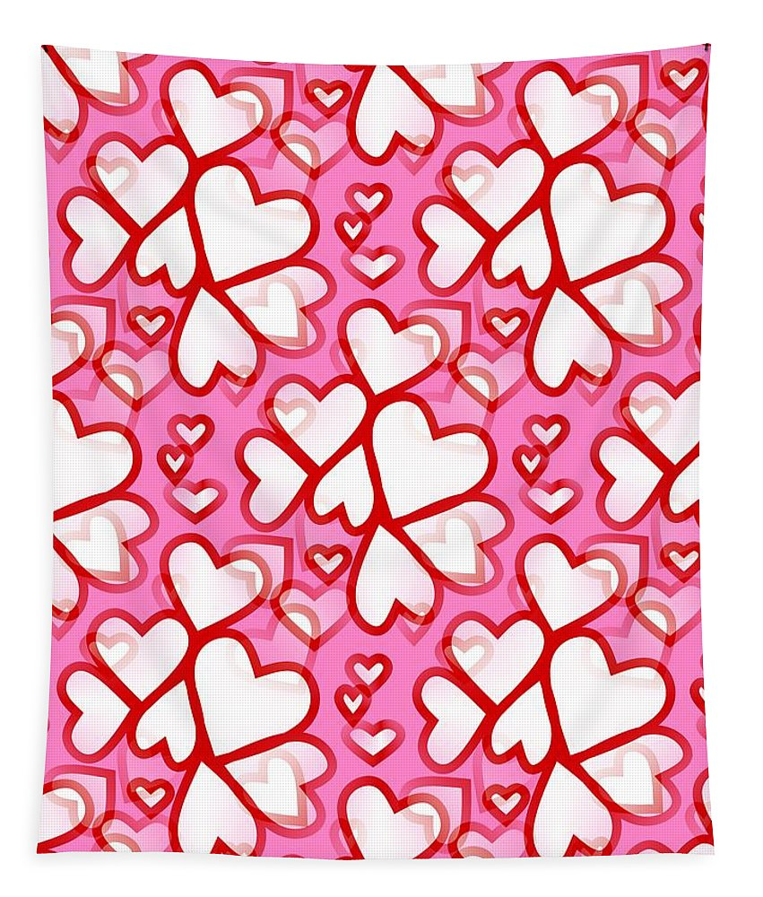 Contemporary Valentines Day Wall Art Tapestry featuring the digital art White Hearts - Valentines Pattern by Kathleen Sartoris
