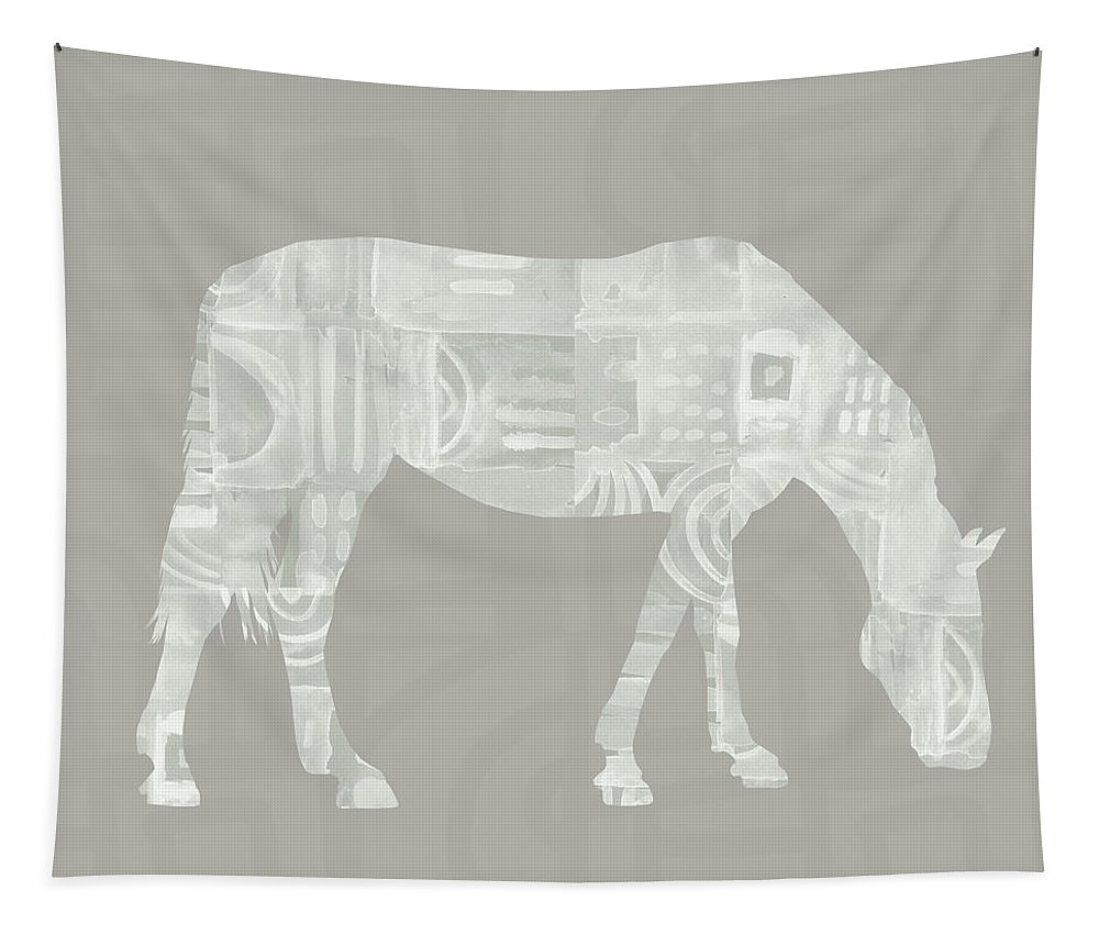 Horse Tapestry featuring the painting White Horse 2- Art By Linda Woods by Linda Woods