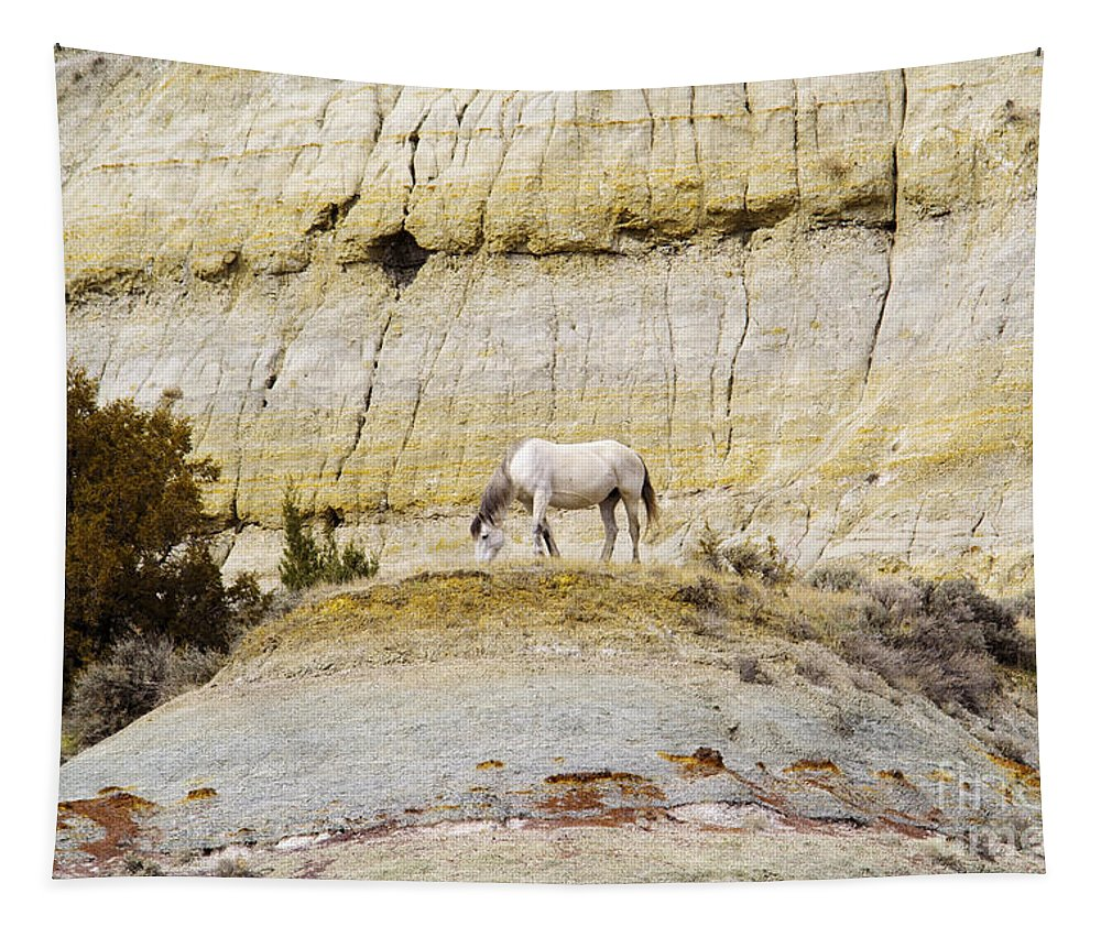 Horse Tapestry featuring the photograph White Horse On A Mound by Jeff Swan