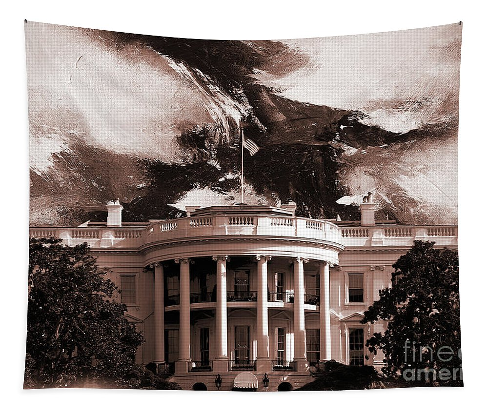 White House Tapestry featuring the painting White House Washington Dc by Gull G