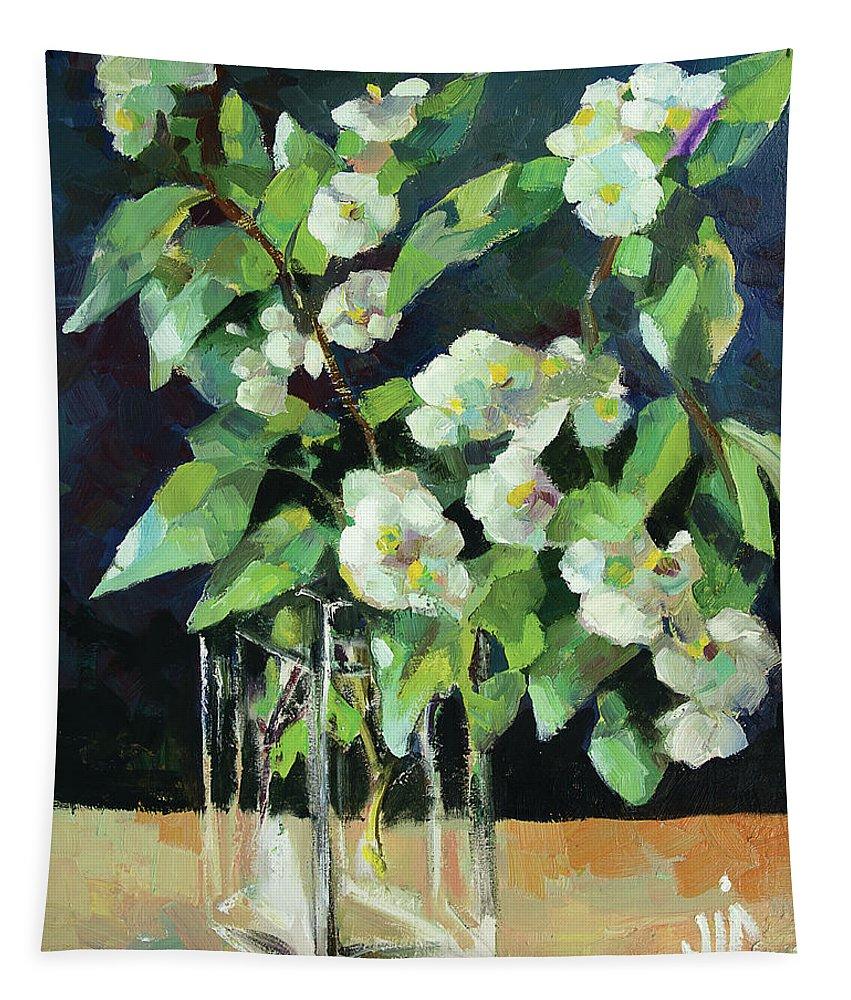 Jasmine Tapestry featuring the painting White Jasmine In A Ikea Bowl by Vali Irina Ciobanu