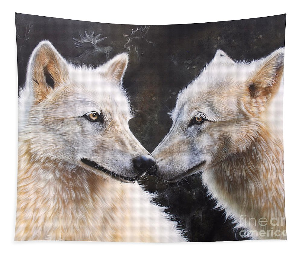 Acrylic Tapestry featuring the painting White Magic by Sandi Baker