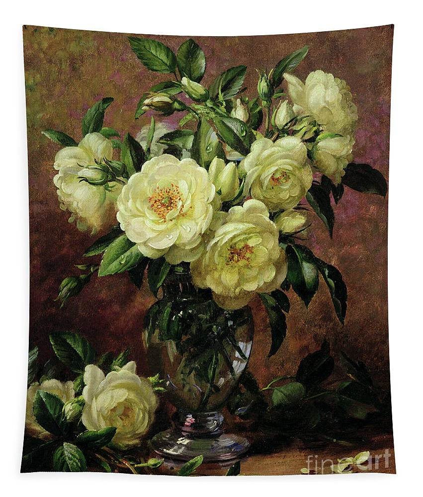 Rose; Still Life; Flower; Arrangement; Vase; Floral; Sentimental; Symbolic; Roses; White Roses; White Roses On The Floor; White Petals On The Floor Tapestry featuring the painting White Roses - A Gift From The Heart by Albert Williams