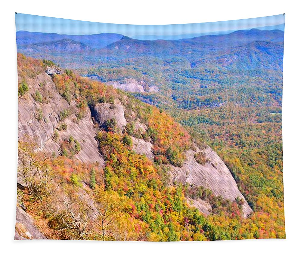 White Side Mountain Fool's Rock In Autumn Tapestry featuring the photograph White Side Mountain Fool's Rock In Autumn by Lisa Wooten