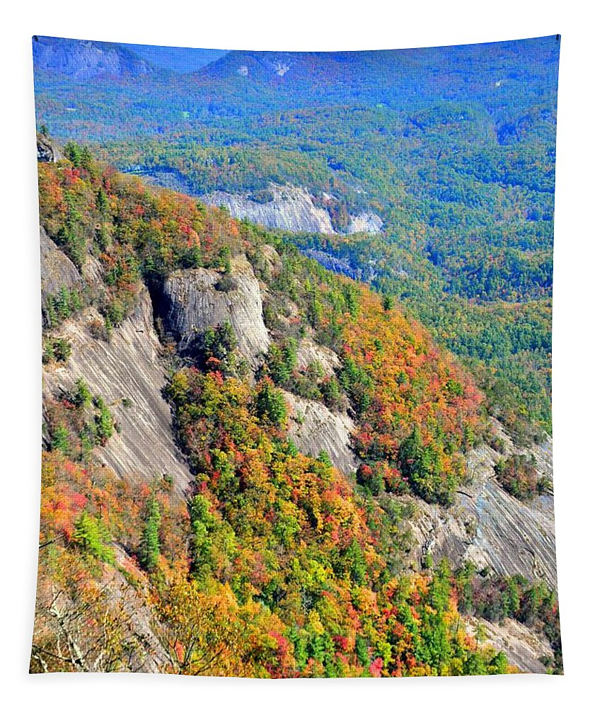 White Side Mountain Fool's Rock In Autumn Vertical Tapestry featuring the photograph White Side Mountain Fool's Rock In Autumn Vertical by Lisa Wooten