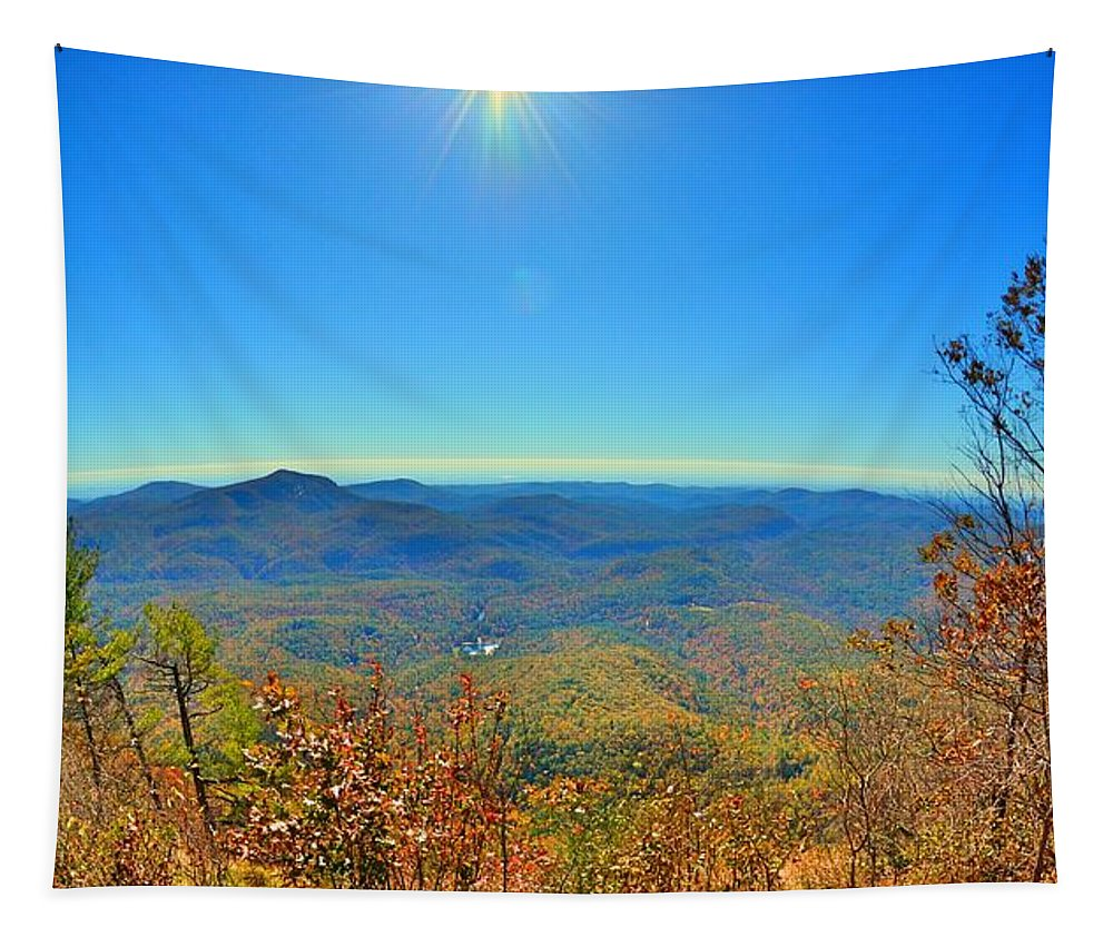 White Side Mountain Nantahala National Forest In Autumn Tapestry featuring the photograph White Side Mountain Nantahala National Forest In Autumn by Lisa Wooten