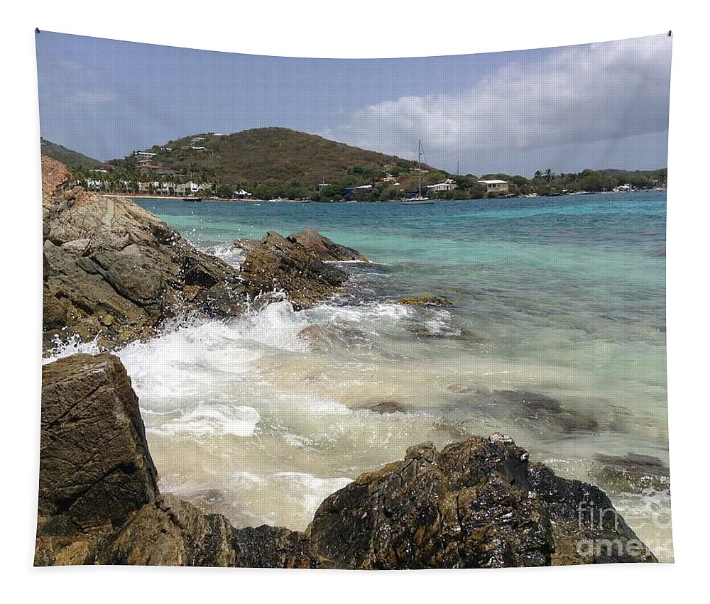 Islands Tapestry featuring the photograph White Waves Crashing by Gina Sullivan