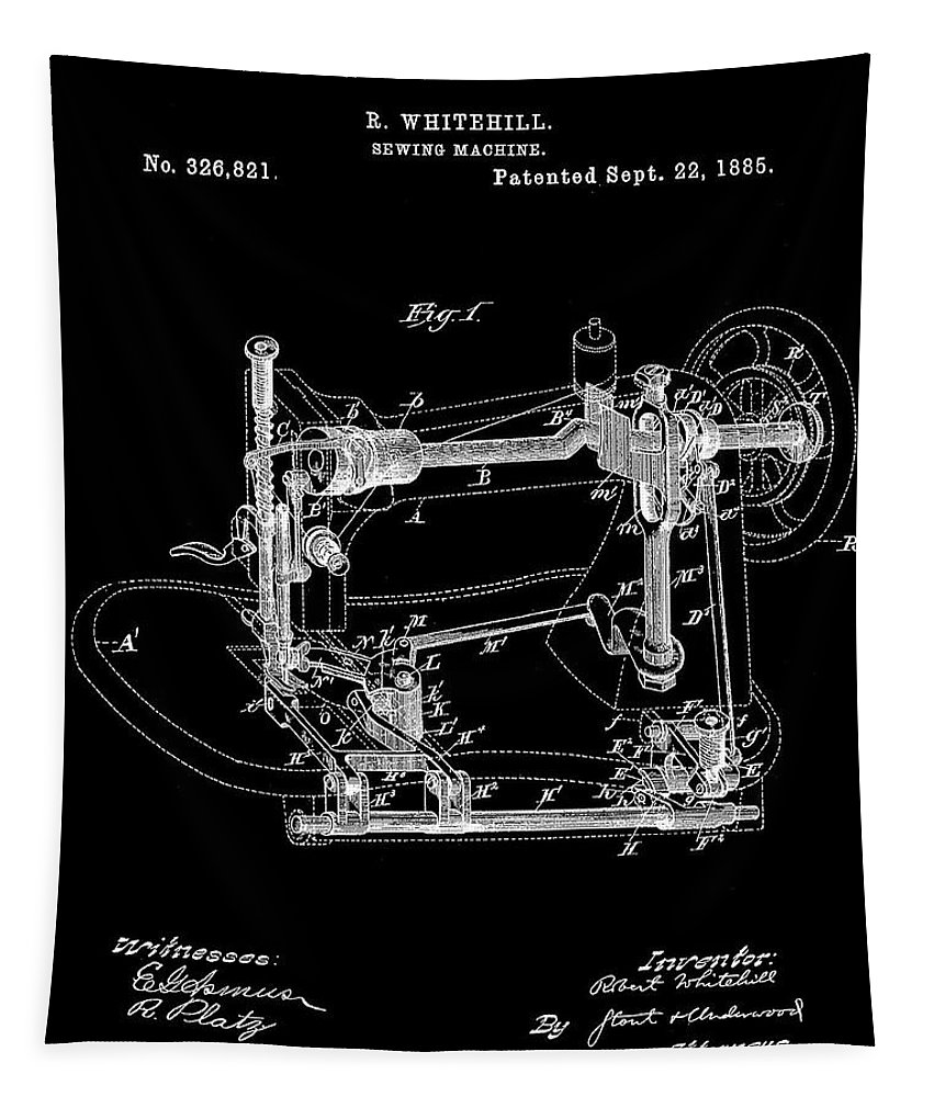 Whitehill Tapestry featuring the digital art Whitehill Sewing Machine Patent 1885 Black by Bill Cannon