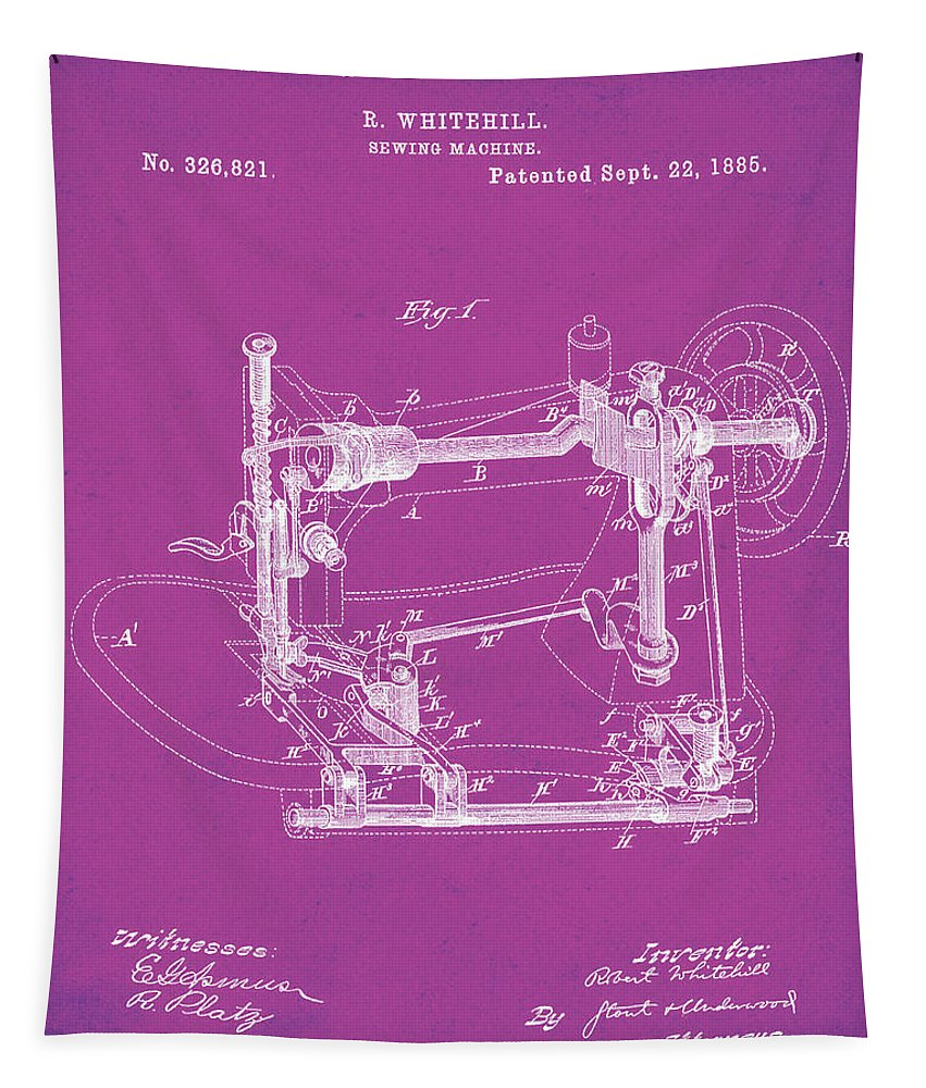 Whitehill Tapestry featuring the digital art Whitehill Sewing Machine Patent 1885 Pink by Bill Cannon