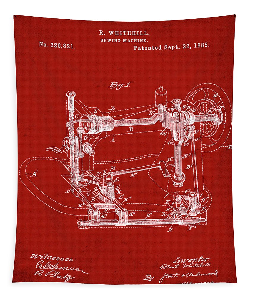 Whitehill Tapestry featuring the digital art Whitehill Sewing Machine Patent 1885 Red by Bill Cannon