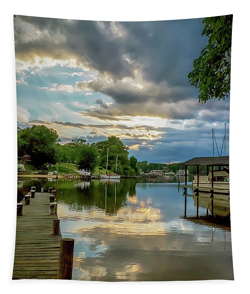 2d Tapestry featuring the photograph White's Cove Reflections by Brian Wallace