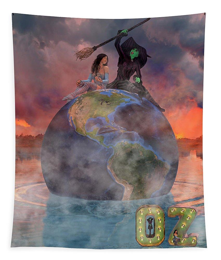 Render Tapestry featuring the digital art Wickedful Oz by Betsy Knapp
