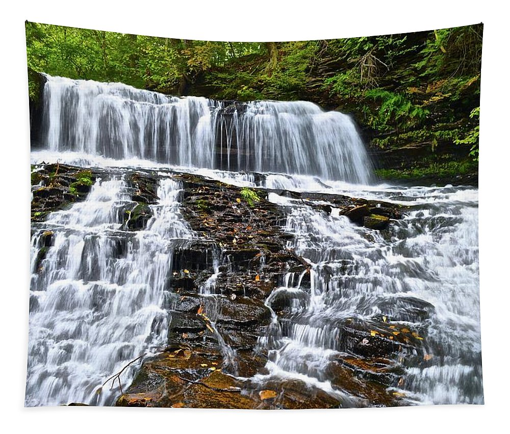Waterfall Tapestry featuring the photograph Wide Flowing Falls by Frozen in Time Fine Art Photography