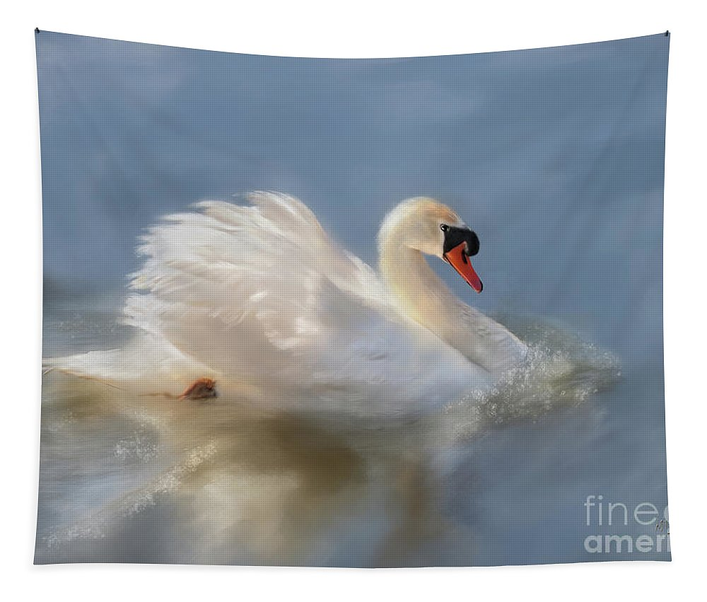 Swan Tapestry featuring the digital art Wild Beauty Painted by Lois Bryan