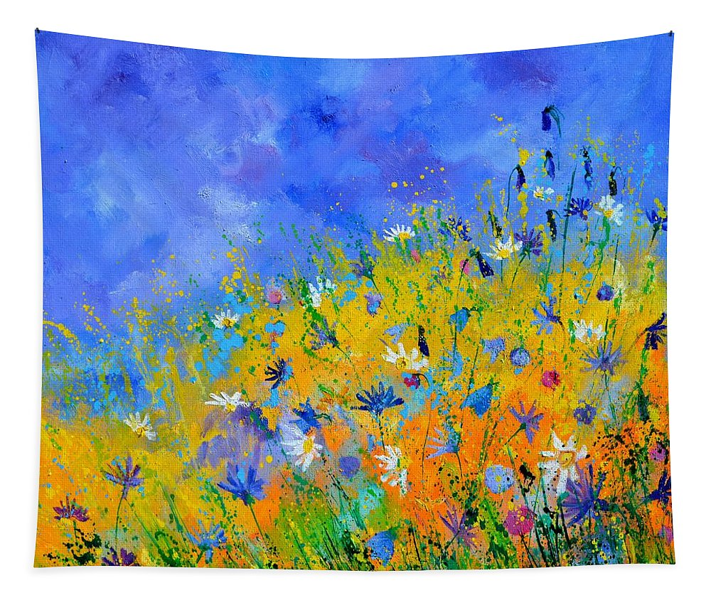 Flowers Tapestry featuring the painting Wild fieldflowers by Pol Ledent