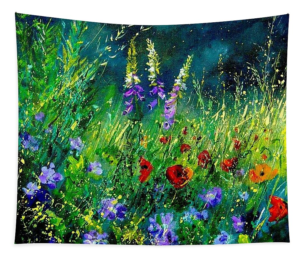 Poppies Tapestry featuring the painting Wild Flowers by Pol Ledent