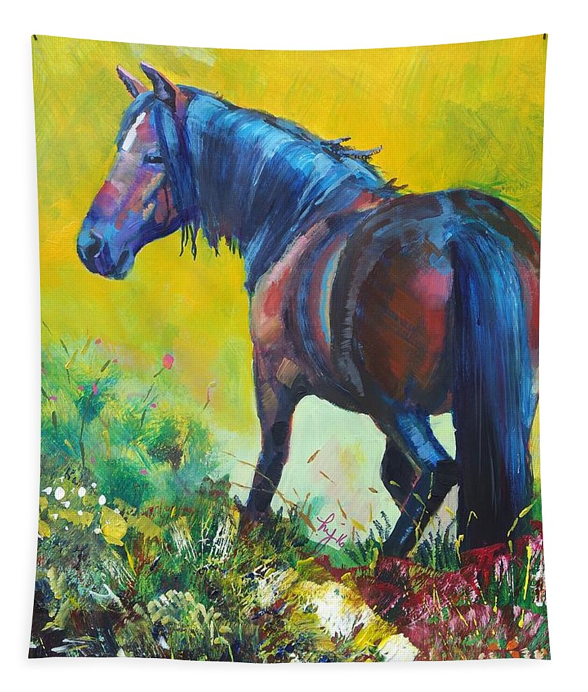 Wild Horses Tapestry featuring the painting Wild Horse On Dartmoor - Roaming Free by Mike Jory